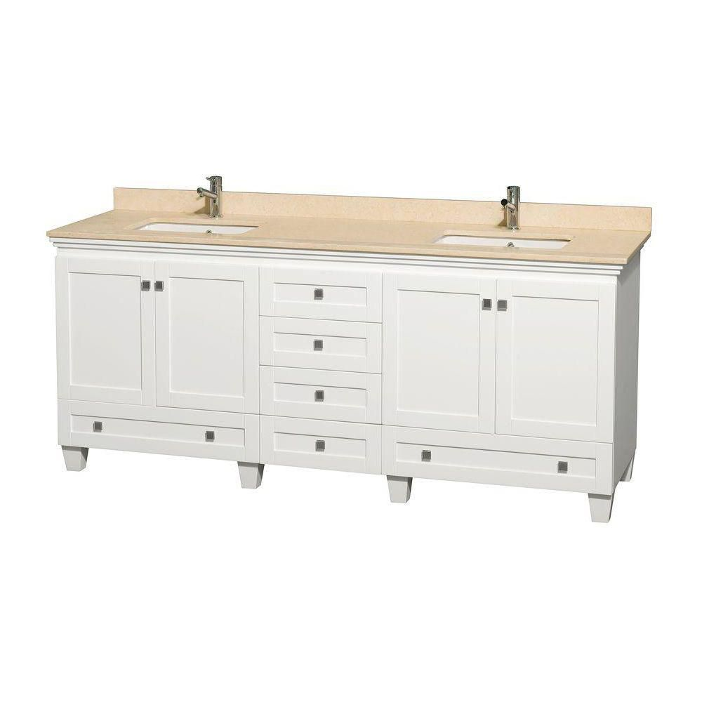 Acclaim 80-inch W Double Vanity in White with Marble Top in Ivory with Square Basins