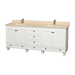 Wyndham Collection Acclaim 80-inch W 6-Drawer 4-Door Vanity in White With Marble Top in Beige Tan, Double Basins