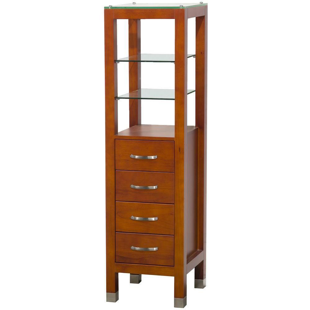 Wyndham Collection Tavello 16-1/4 In. W x 16 In. D x 59-3/4 In. H Linen Tower in Cherry