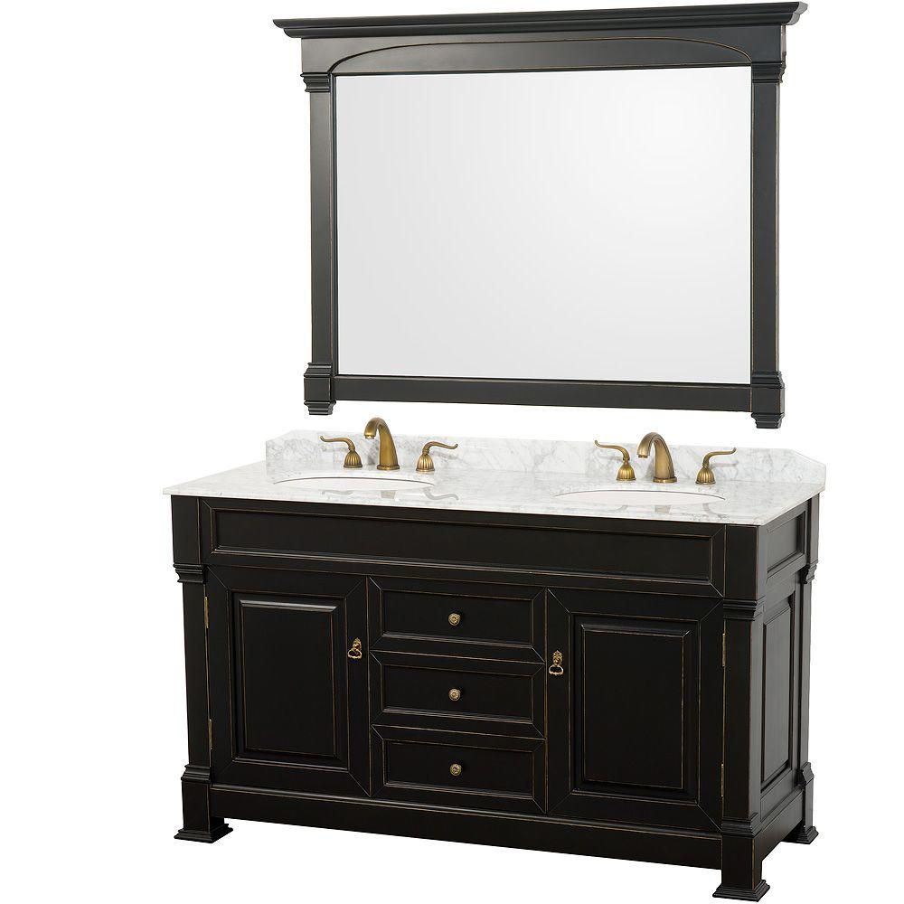 Andover 60-inch Vanity in Antique Black with Double Basin Marble Top in Carrera White and Mirror