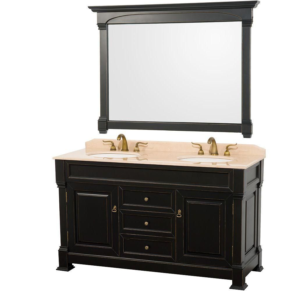 Andover 60-inch W Vanity in Antique Black with Marble Top in Ivory and Mirror