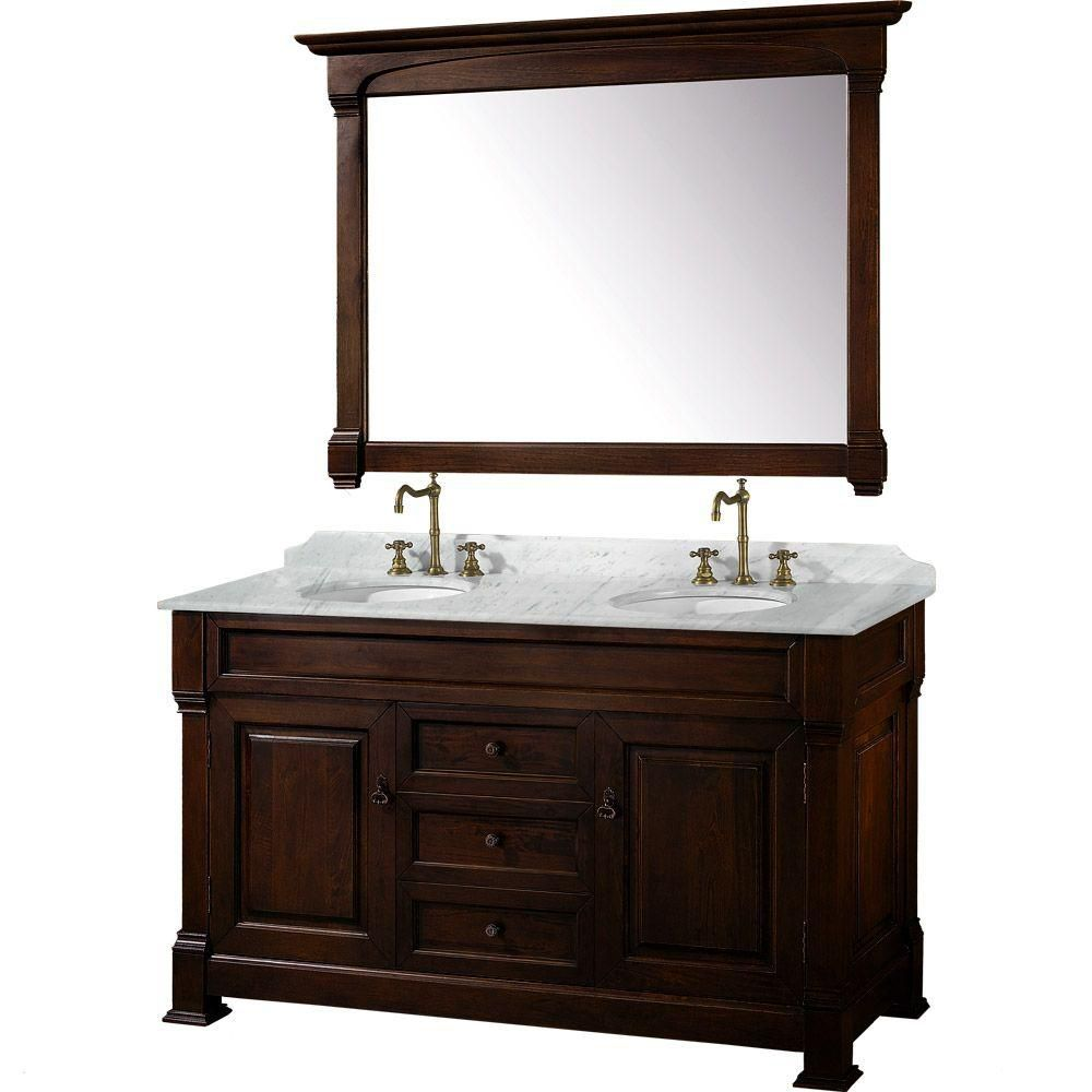 Andover 60-inch W Vanity in Dark Cherry with Marble Top in Carrara White and Mirror