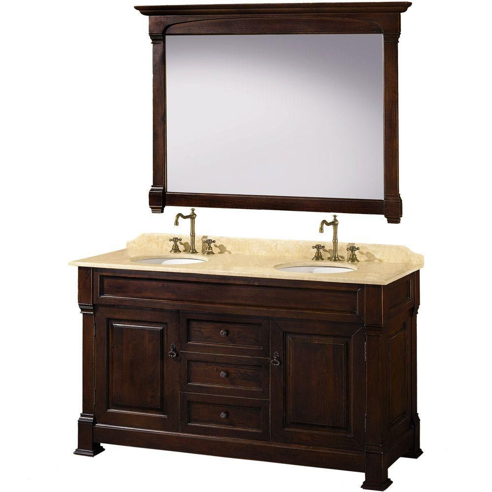 Wyndham Collection Andover 60-inch Vanity in Dark Cherry with Double Basin Marble Vanity Top in Ivory and Mirror