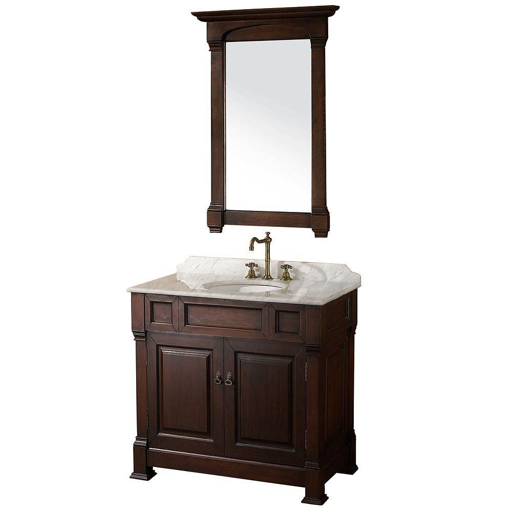 Andover 36-inch W Vanity in Dark Cherry with Marble Top in White with White Basin and Mirror