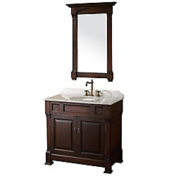 Wyndham Collection Andover 36-inch W 2-Door Freestanding Vanity in Brown With Marble Top in White With Mirror