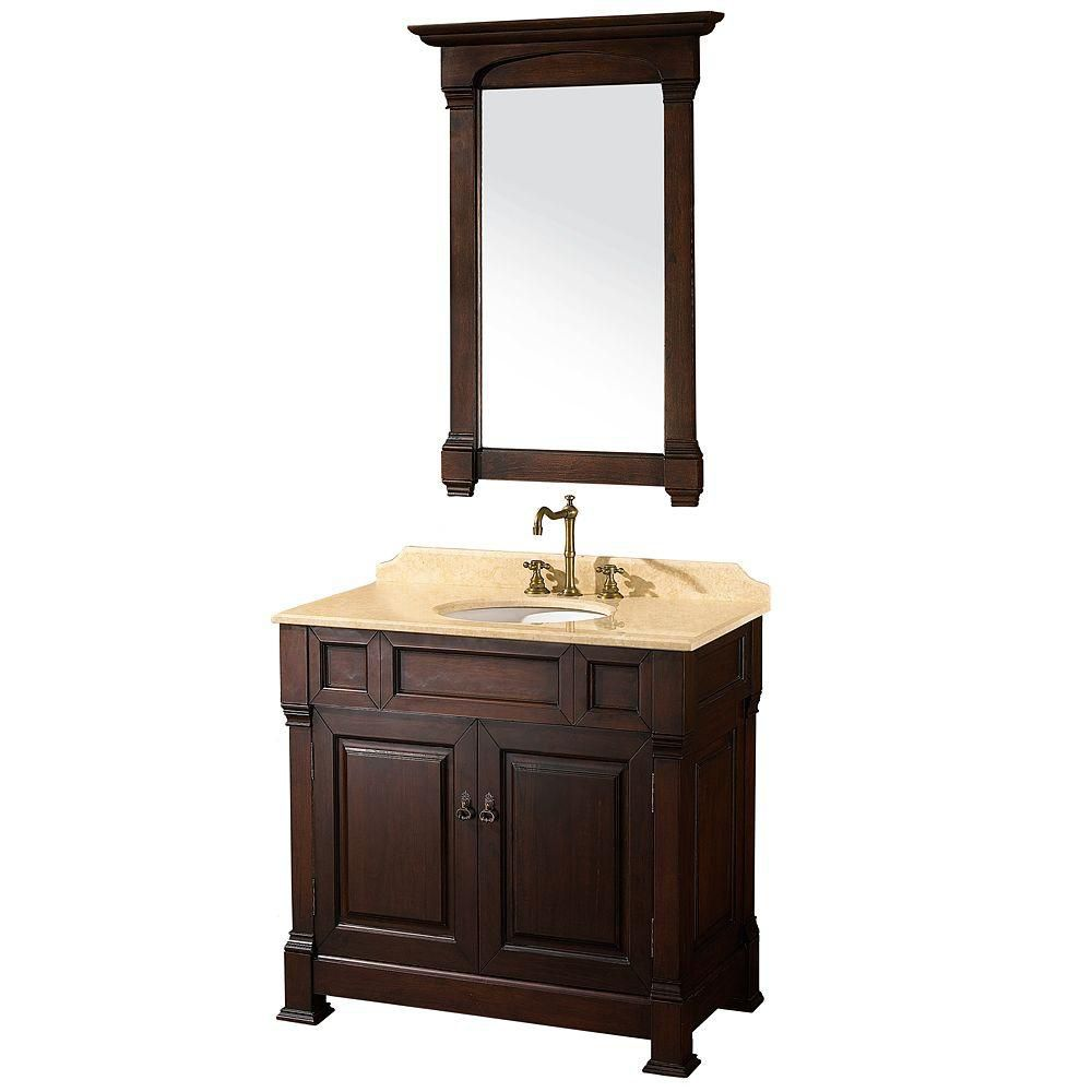 Andover 36-inch W Vanity in Dark Cherry with Marble Top in Ivory with White Basin and Mirror