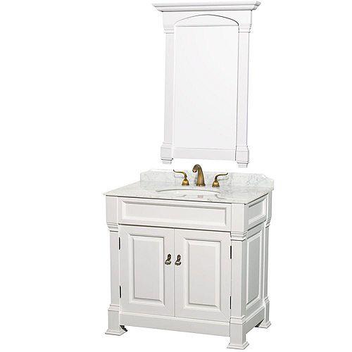 Wyndham Collection Andover 36 po Meuble blanc et revêt. en marbre blanc Carrare, évier sous comptoir blanc et miroir