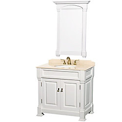 Wyndham Collection Andover 36-inch W 2-Door Freestanding Vanity in White With Marble Top in Beige Tan With Mirror