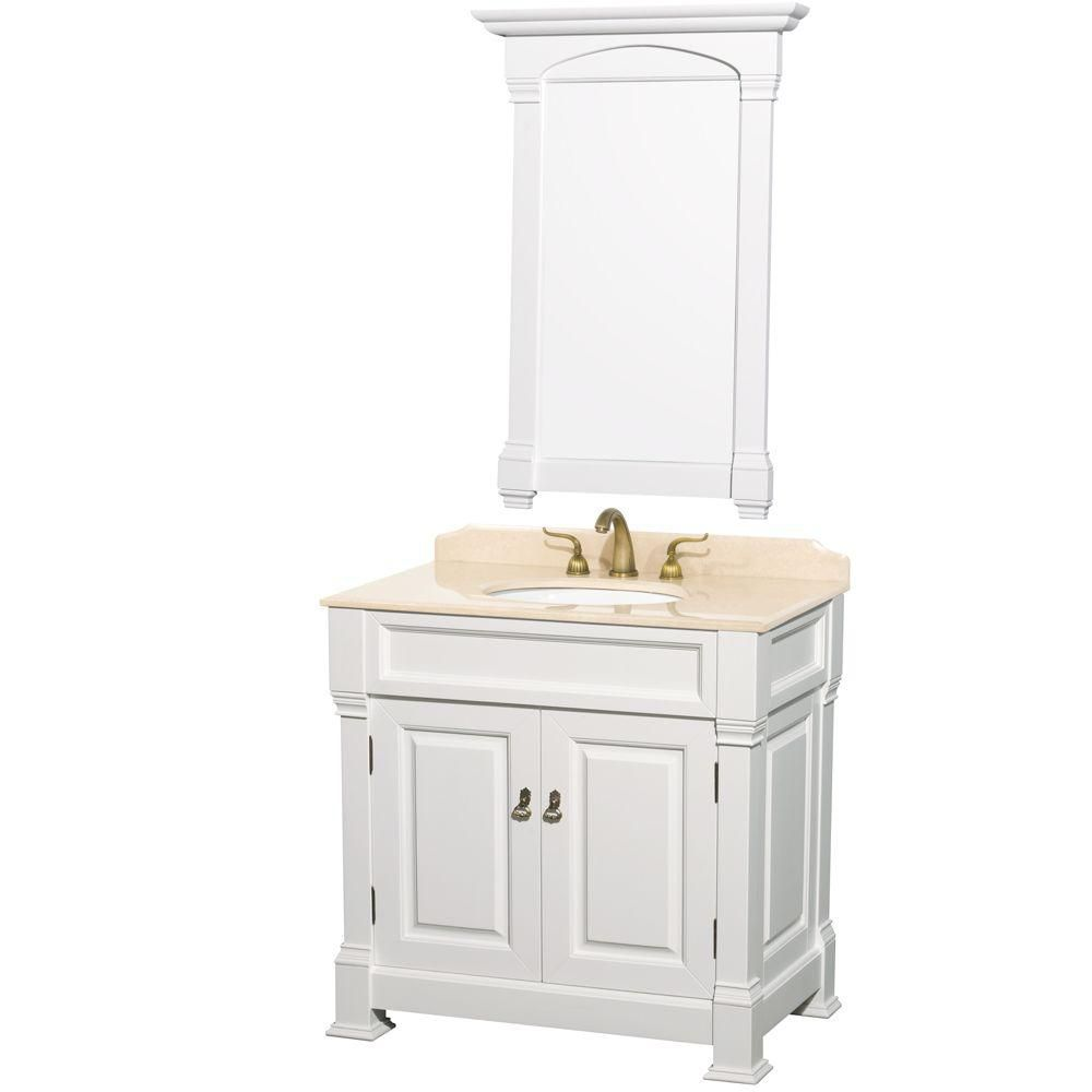 Andover 36-inch W Vanity in White with Marble Top in Ivory and Undermount Sink