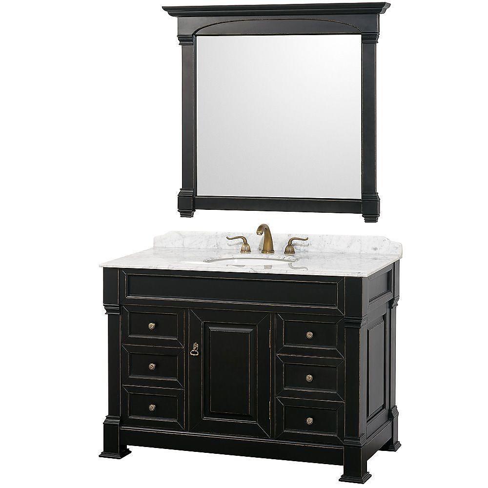 Andover 48 po Meuble couleur noir antique avec revêtement en marbre blanc Carrare et miroir