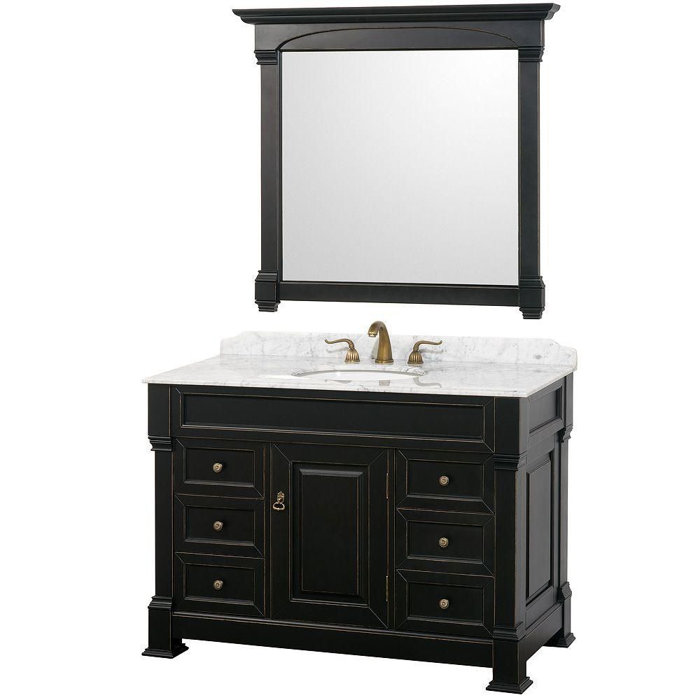 Wyndham Collection Andover 48-inch Vanity in Antique Black with Marble Vanity Top in Carrera White and Mirror