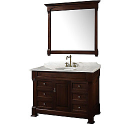 Wyndham Collection Andover 48-inch W 6-Drawer 1-Door Freestanding Vanity in Brown With Marble Top in White With Mirror