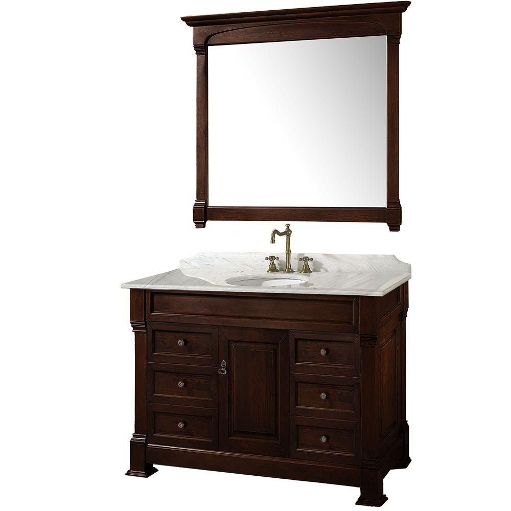 Andover 48-inch W Vanity in Dark Cherry with Marble Top in Carrara White and Mirror