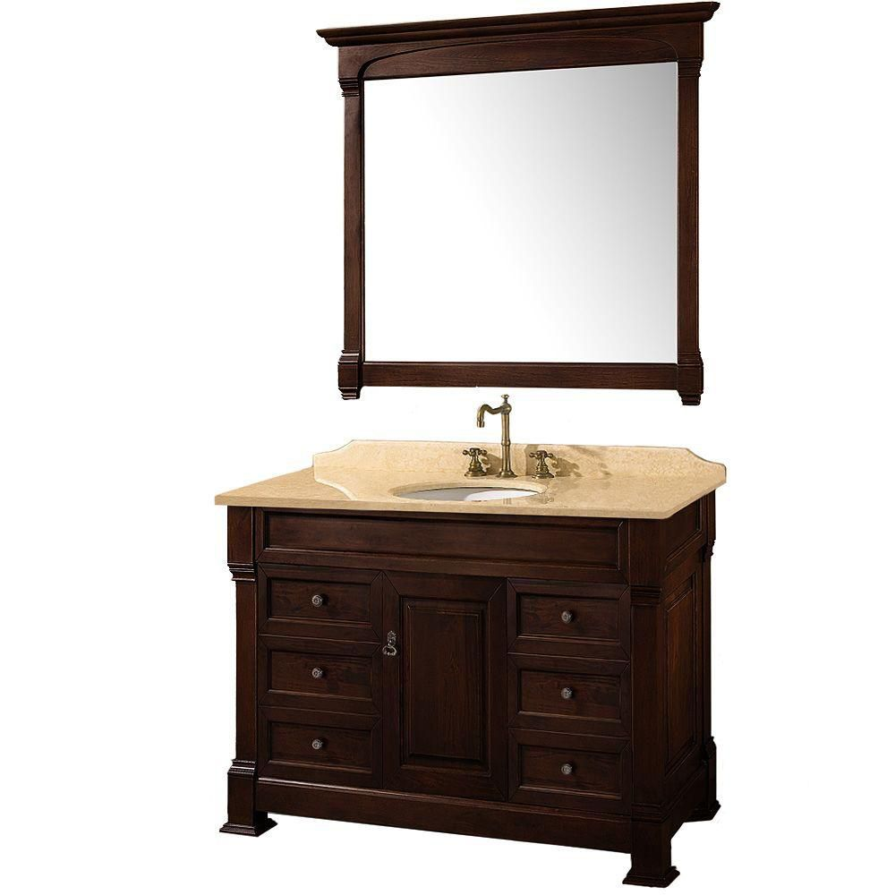 Andover 48-inch W Vanity in Dark Cherry with Marble Top in Ivory and Mirror
