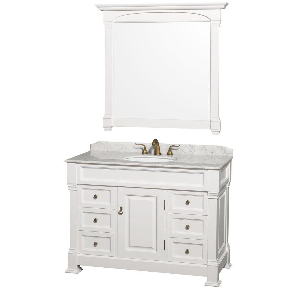 Wyndham collection andover 48 inch vanity in white with - 48 inch white bathroom vanity with top ...