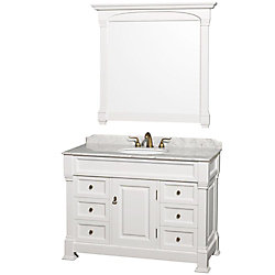 Wyndham Collection Andover 48-inch W 6-Drawer 1-Door Freestanding Vanity in White With Marble Top in White With Mirror