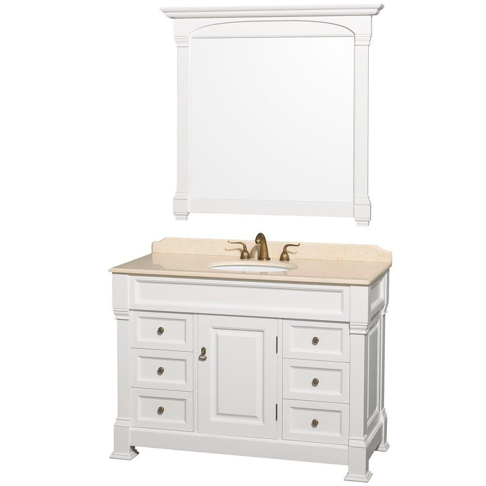 Wyndham Collection Andover 48-inch W 6-Drawer 1-Door Vanity in White With Marble Top in Beige Tan With Mirror