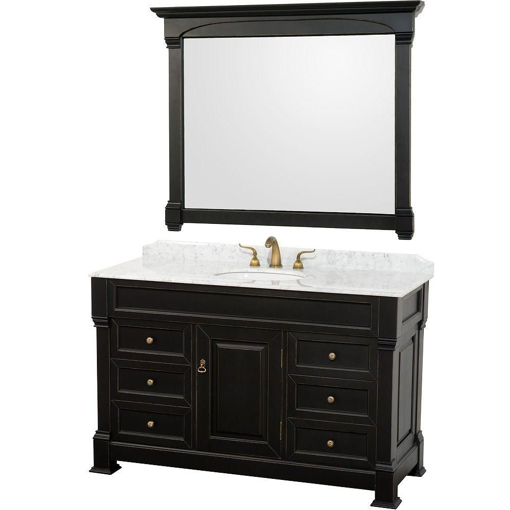 Wyndham Collection Andover 55-inch Vanity in Antique Black with Marble Vanity Top in Carrera White and Mirror