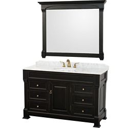 Wyndham Collection Andover 55-inch W 6-Drawer 1-Door Freestanding Vanity in Black With Marble Top in White With Mirror