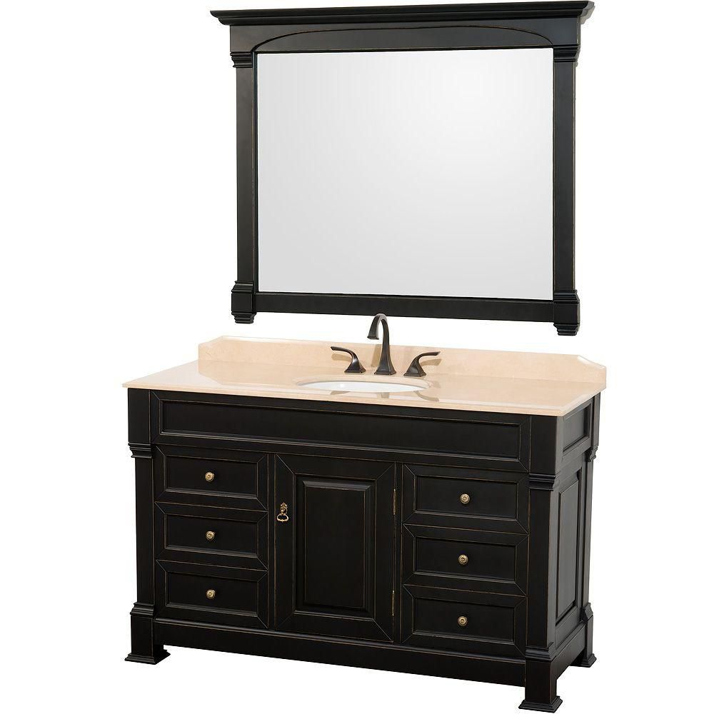 Wyndham Collection Andover 55-inch W 6-Drawer 1-Door Vanity in Black With Marble Top in Beige Tan With Mirror