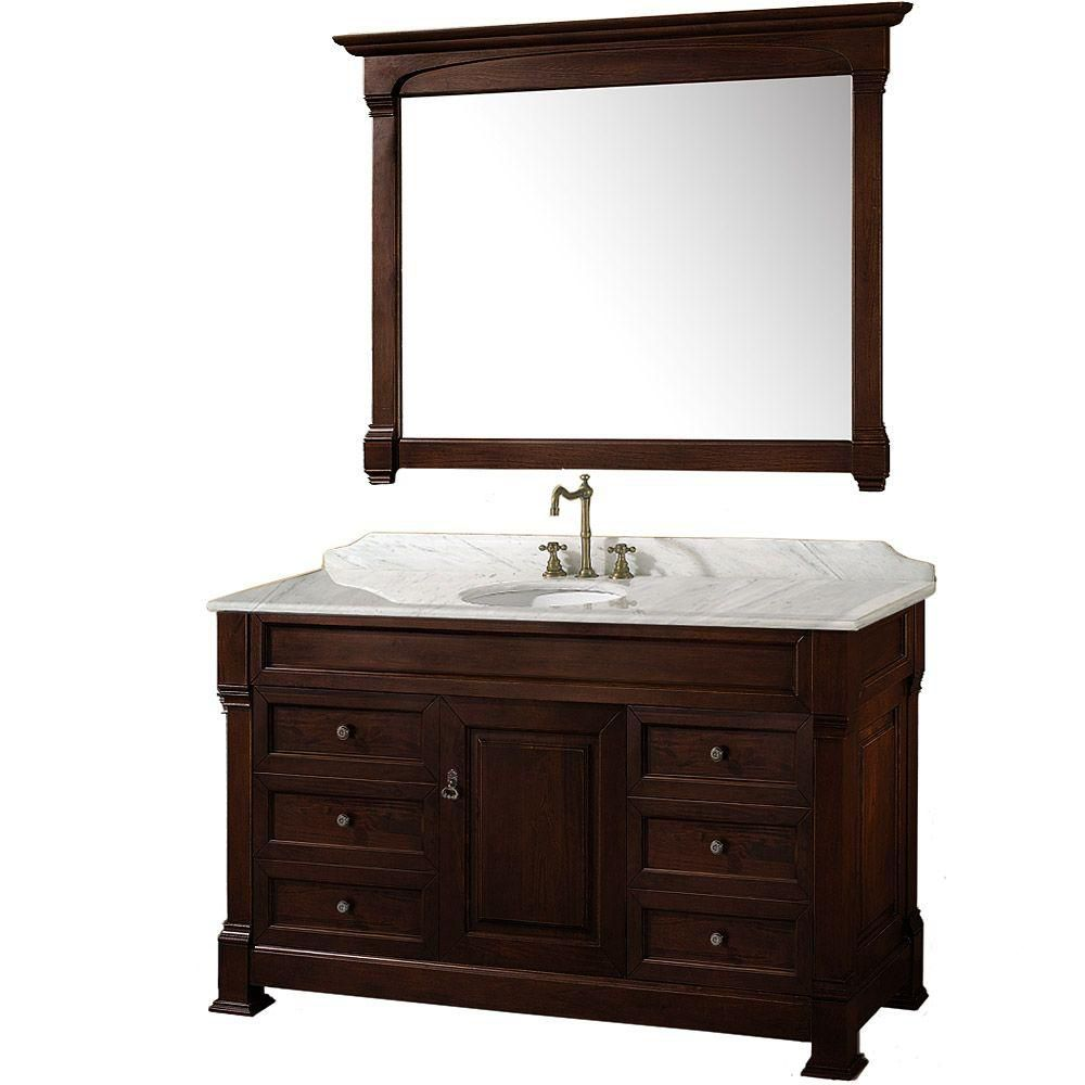 Wyndham Collection Andover 55-inch Vanity in Dark Cherry with Marble Vanity Top in Carrera White and Mirror