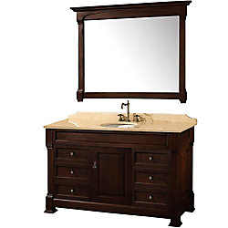 Wyndham Collection Andover 55-inch W 6-Drawer 1-Door Vanity in Brown With Marble Top in Beige Tan With Mirror