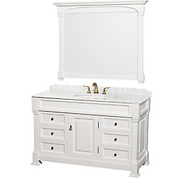 Wyndham Collection Andover 55-inch W Vanity in White with Marble Top in Carrara and Mirror