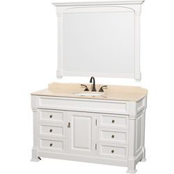 Wyndham Collection Andover 55 po Meuble blanc avec revêtement en marbre ivoire et miroir