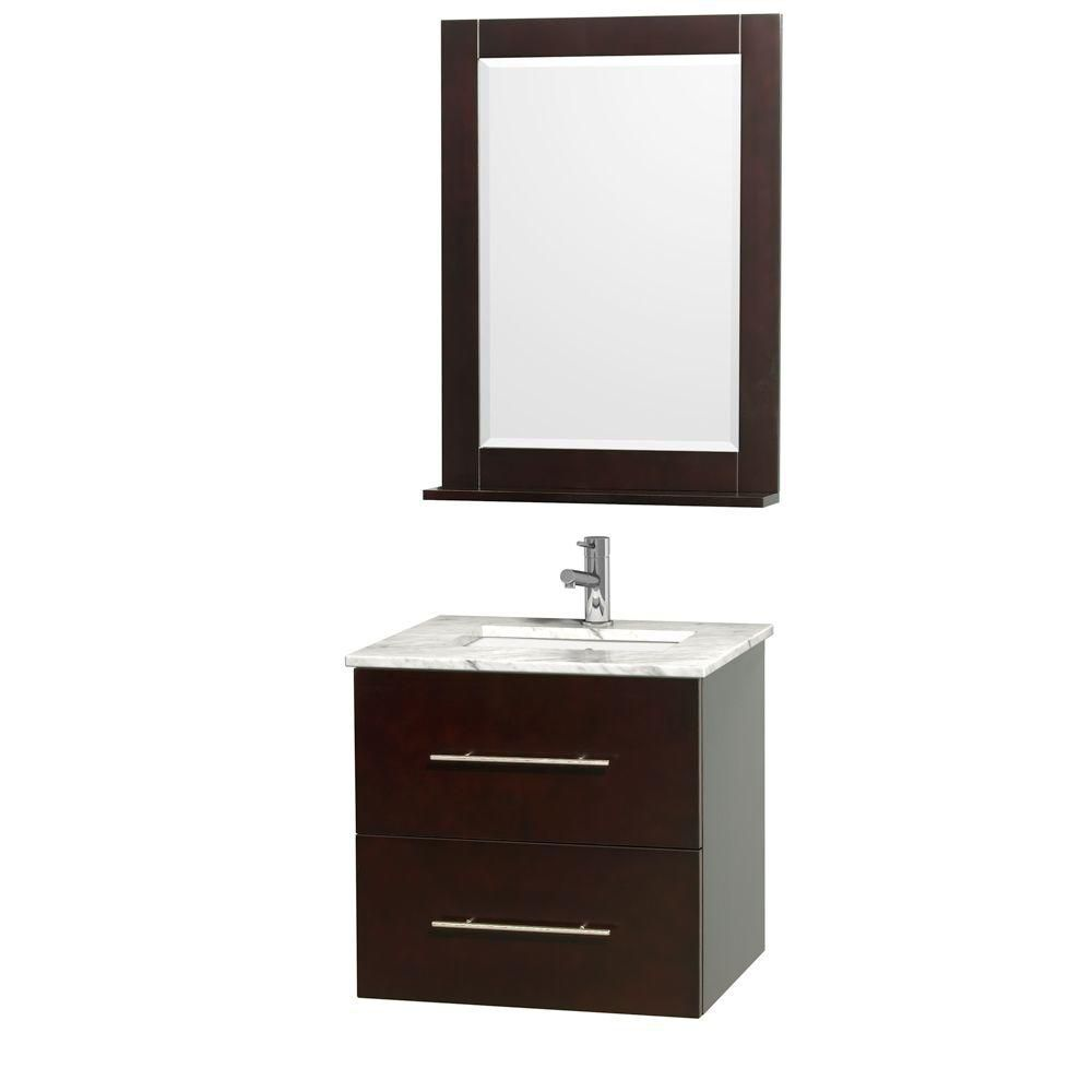 Centra 24-inch W 1-Drawer 1-Door Wall Mounted Vanity in Brown With Marble Top in White With Mirror