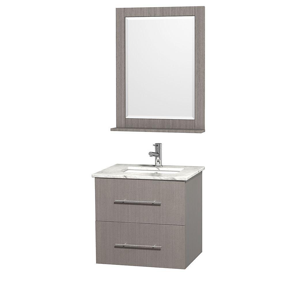 Centra 24 po Meuble chêne gris et revêtement en marbre blanc Carrare et évier sous comptoir