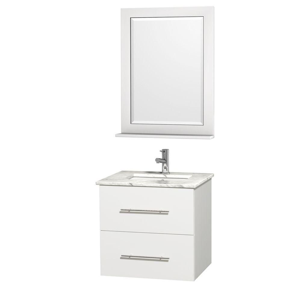 Centra 24-inch W Vanity in White with Marble Top in White with Undermount Basin