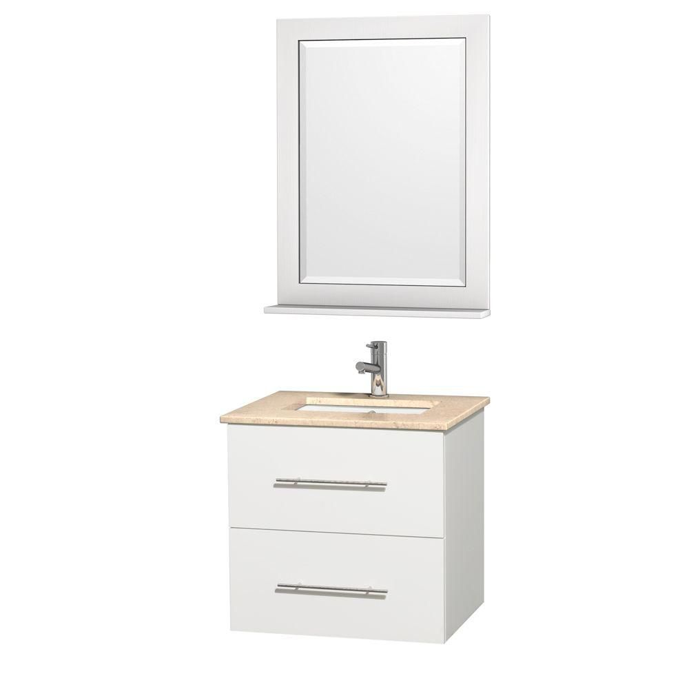 Centra 24-inch W Vanity in White with Marble Top in Ivory with Undermount Basin