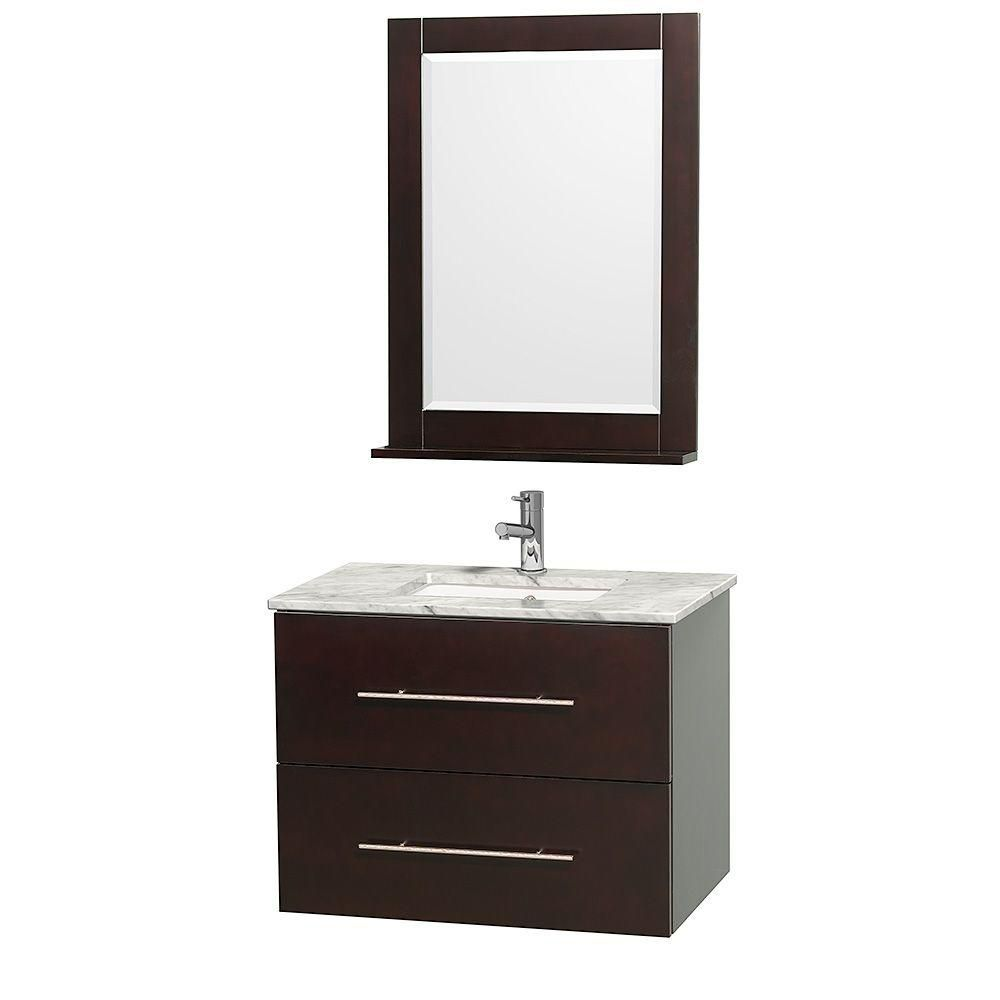 Centra 24-inch W Vanity in Espresso with Marble Top in White with Undermount Basin