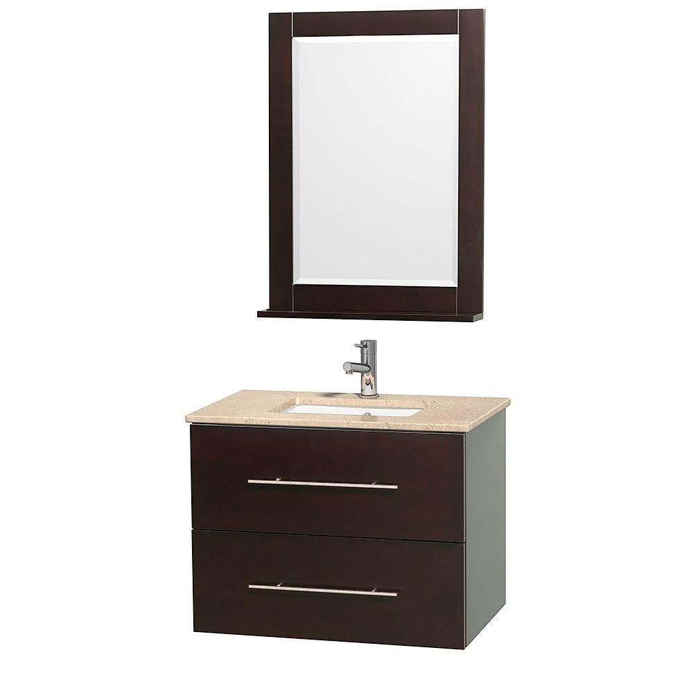 Centra 24-inch W Vanity in Espresso with Marble Top in Ivory with Undermount Basin