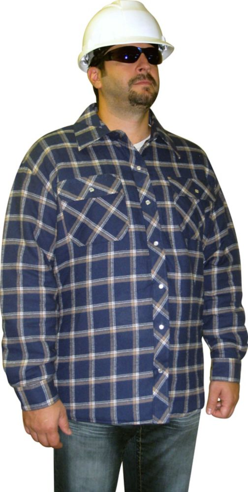 Lined Quilted Plaid Shirt Large