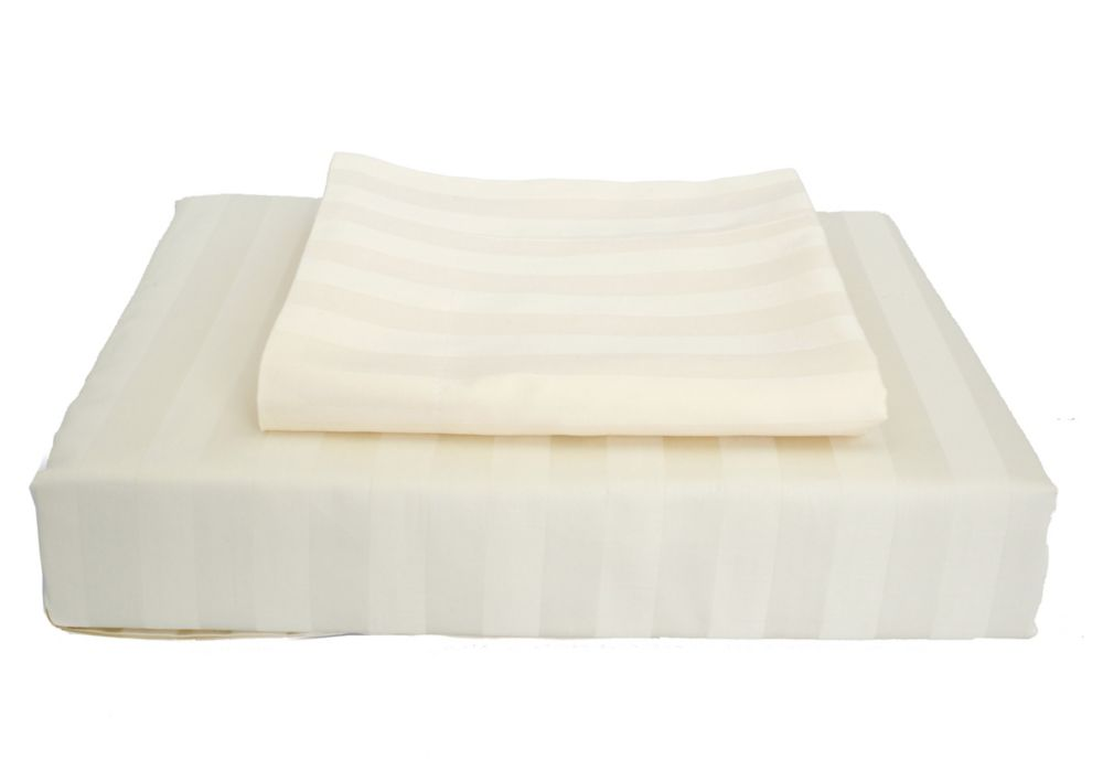 Ambassador 300TC Damask Stripe Duvet Cover Set, Ivory, Twin
