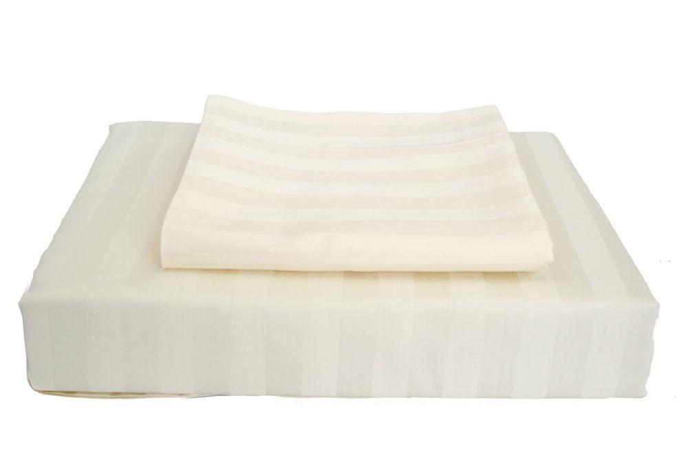 300TC Damask Stripe Duvet Cover Set, Ivory, Queen