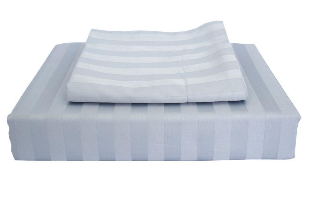 300TC Damask Stripe Duvet Cover Set, Sky Blue, Twin