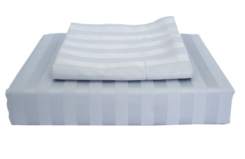 Ambassador 300TC Damask Stripe Duvet Cover Set, Sky Blue, Twin
