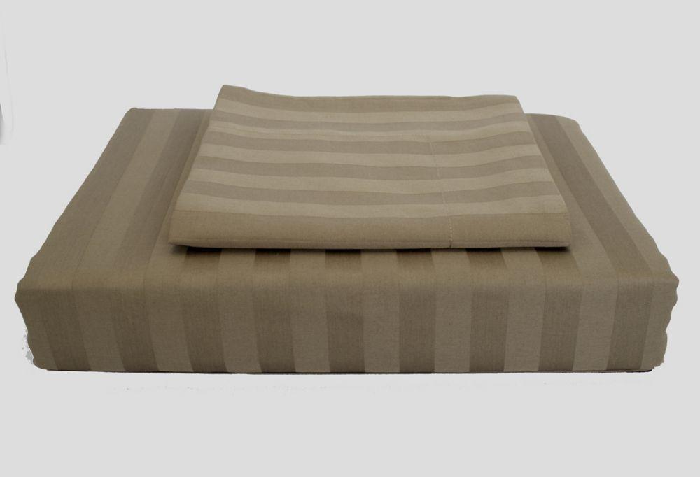 300TC Damask Stripe Duvet Cover Set, Mink, Double