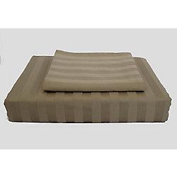Ambassador 300TC Damask Stripe Duvet Cover Set, Mink, Double