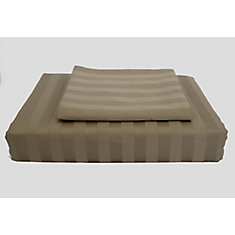 300TC Damask Stripe Duvet Cover Set, Mink, Queen