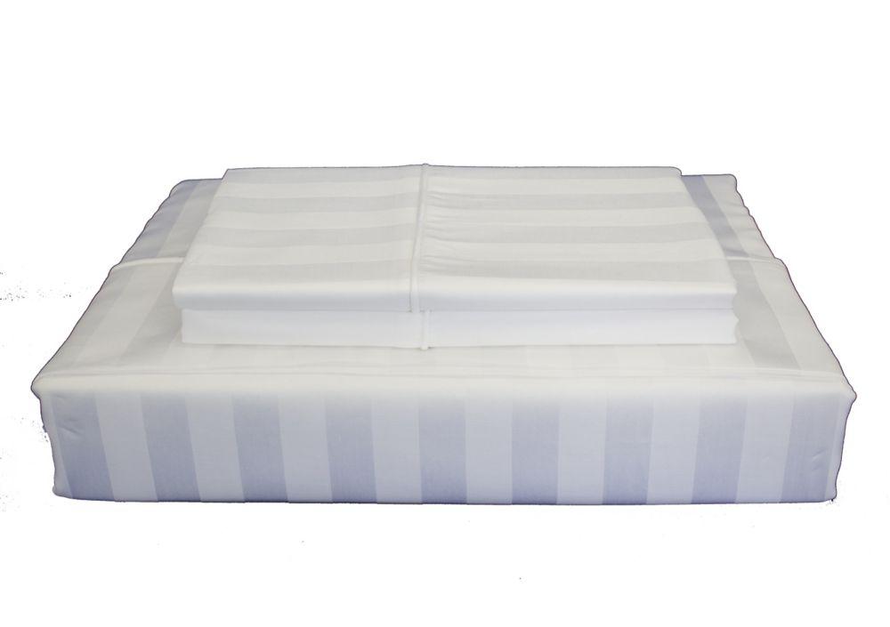 300TC Damask Stripe Sheet Set, White, Twin