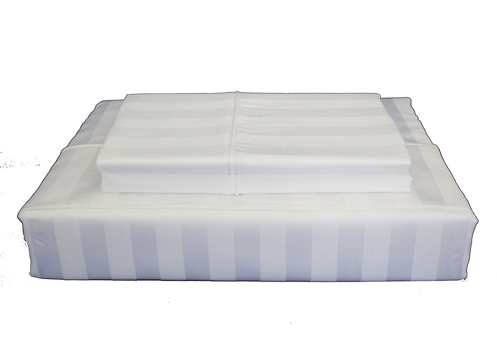 300 fils au pouce, Damask Stripe - Ensemble de housse de couette, blanc, très grand lit