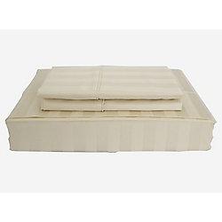 Ambassador 300TC Damask Stripe Sheet Set, Sand, Twin
