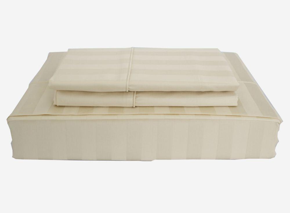 Ambassador 300TC Damask Stripe Sheet Set, Sand, Double