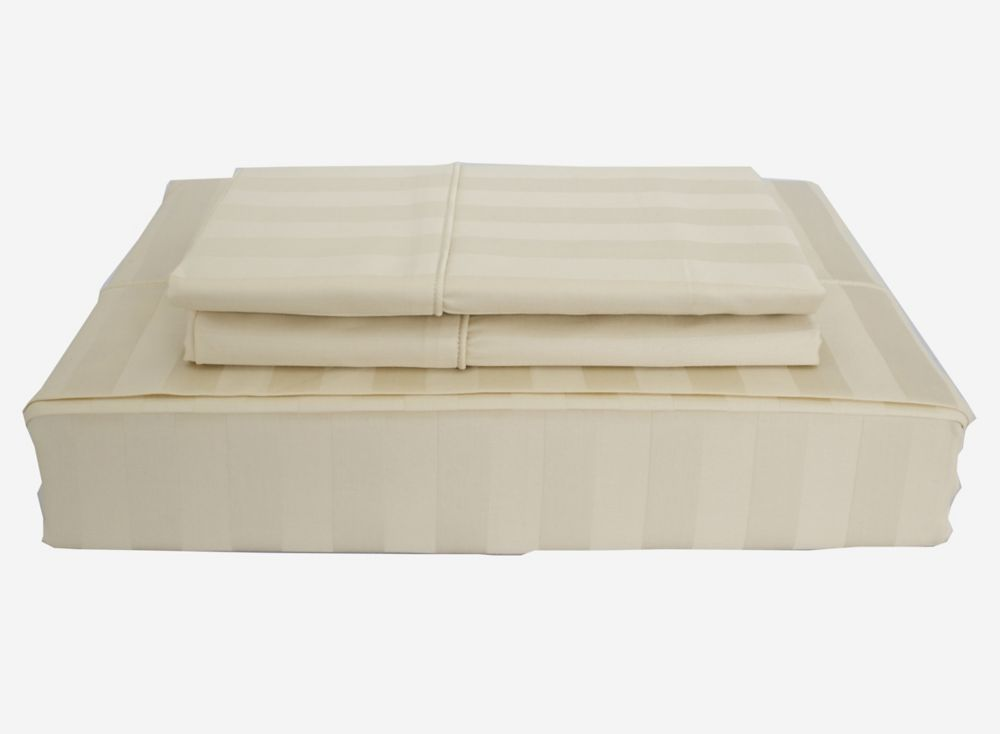 300TC Damask Stripe Sheet Set, Sand, Queen