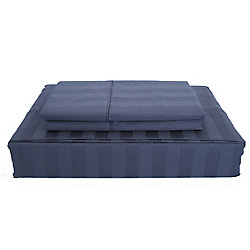 Ambassador 300TC Damask Stripe Sheet Set, Navy, King