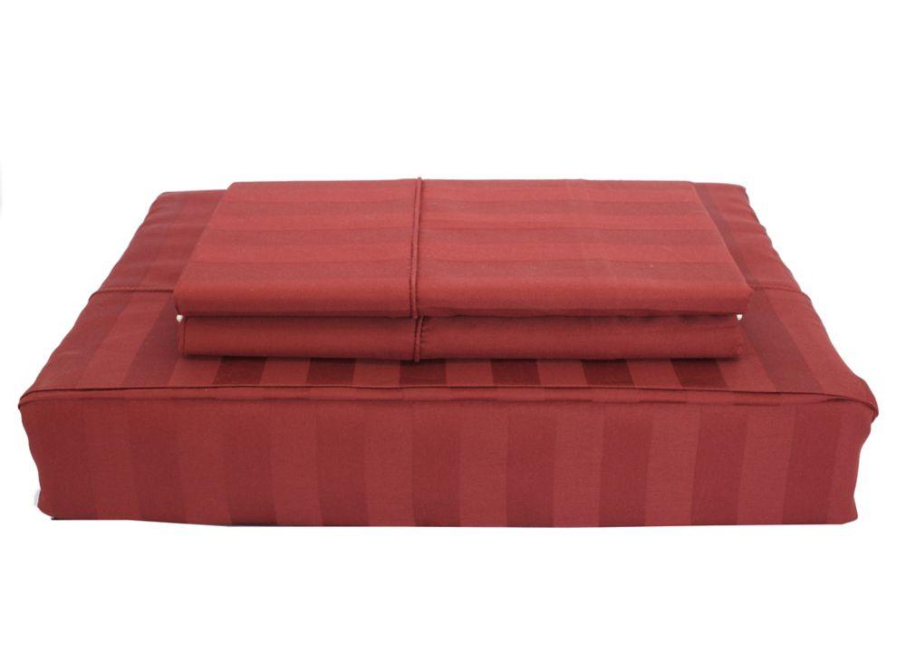 300TC Damask Stripe Sheet Set, Ruby, Double