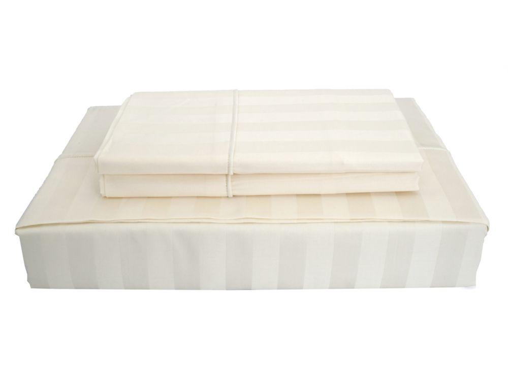 300TC Damask Stripe Sheet Set, Ivory, Twin